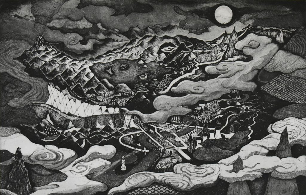 溝上幾久子  おおかみたちのえものがたりⅡ – 絵本『オオカミ県』原画展
